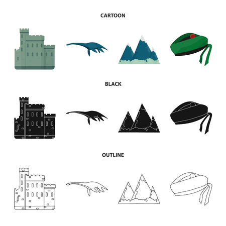 Edinburgh Castle, Loch Ness Monster, Grampian Mountains, national cap balmoral,tam o shanter. Scotland set collection icons in cartoon,black,outline style vector symbol stock illustration web. Çizim