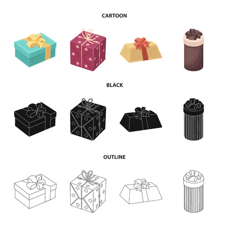Gift box with bow, gift bag.Gifts and certificates set collection icons in cartoon,black,outline style vector symbol stock illustration web.