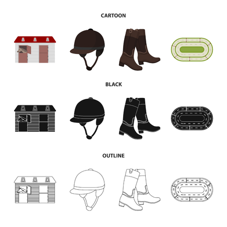 Boots, grass, stadium, track, rest .Hippodrome and horse set collection icons in cartoon,black,outline style vector symbol stock illustration web. Ilustração