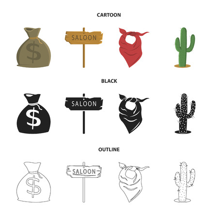 Bag of money, saloon, cowboy kerchief, cactus. Wild west set collection icons in cartoon,black,outline style vector symbol stock illustration web.