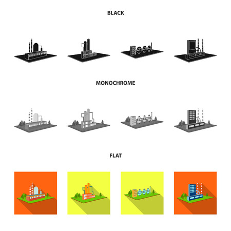 Processing factory,metallurgical plant. Factory and industry set collection icons in black, flat, monochrome style isometric vector symbol stock illustration web. Иллюстрация