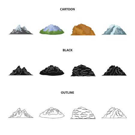 Góry na pustyni, ośnieżony szczyt, wyspa z lodowcem, ośnieżona góra. Różne góry zestaw kolekcji ikon w kreskówka, czarny, www ilustracji symbol wektor zarys styl.