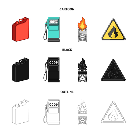 Canister for gasoline, gas station, tower, warning sign. Oil set collection icons in cartoon,black,outline style vector symbol stock illustration web. Иллюстрация