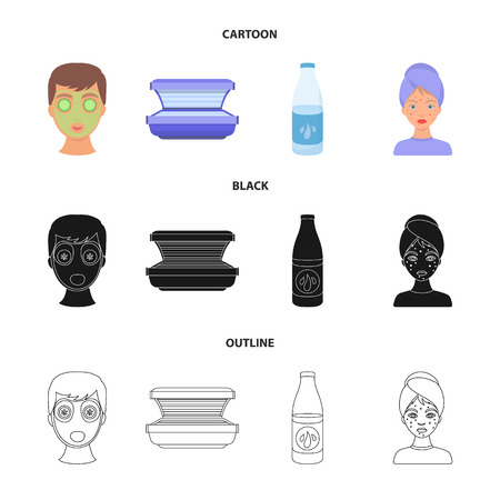 Face mask, solarium, bottle ts lasenom, pimples on face. Skin Care set collection icons in cartoon,black,outline style vector symbol stock illustration web.