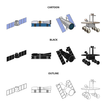 The space station in orbit, the preparation of the launch rocket, the lunar on the surface. Space technology set collection icons in cartoon,black,outline style vector symbol stock illustration web.  イラスト・ベクター素材