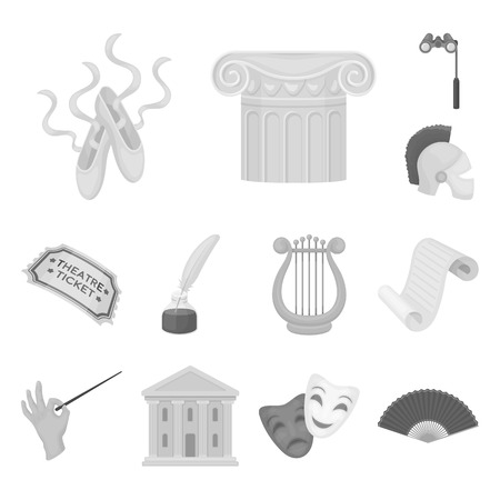 Theatrical art monochrome icons in set collection for design.Theater equipment and accessories vector symbol stock web illustration.