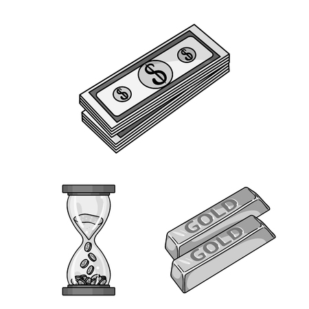 Money and Finance monochrome icons in set collection for design. Business and Success bitmap symbol stock web illustration.
