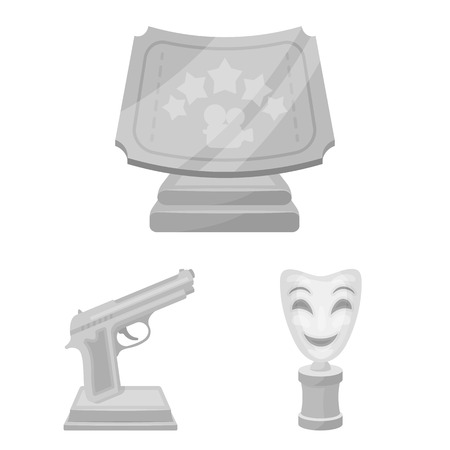 Film awards and prizes monochrome icons in set collection for design. The World Film Academy bitmap symbol stock web illustration. Stockfoto