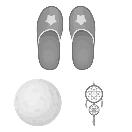 Rest and sleep monochrome icons in set collection for design. Accessories and comfort bitmap symbol stock web illustration.