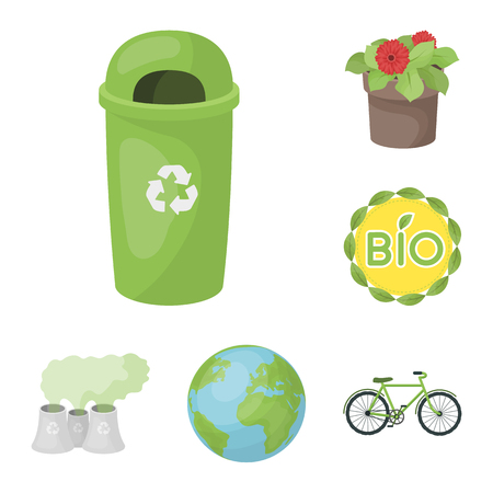 Bio and ecology cartoon icons in set collection for design. An ecologically pure product bitmap symbol stock web illustration. Banque d'images
