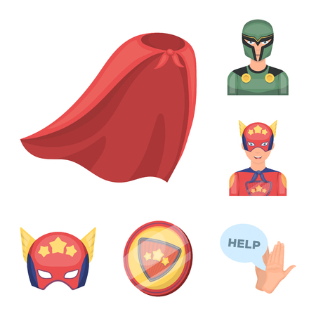 A fantastic superhero cartoon icons in set collection for design. Superheros equipment bitmap symbol stock web illustration. Stock Photo