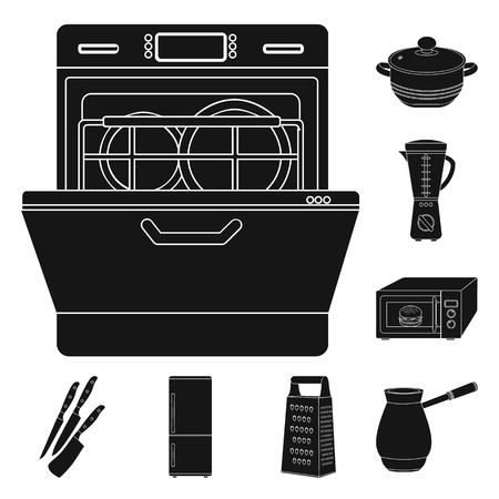 Kitchen equipment black icons in set collection for design. Kitchen and accessories bitmap symbol stock web illustration.