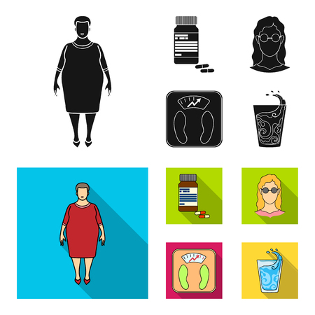 Full woman, a girl with glasses, a scales with exquisite result. Diabeth set collection icons in black, flat style bitmap symbol stock illustration web. 版權商用圖片