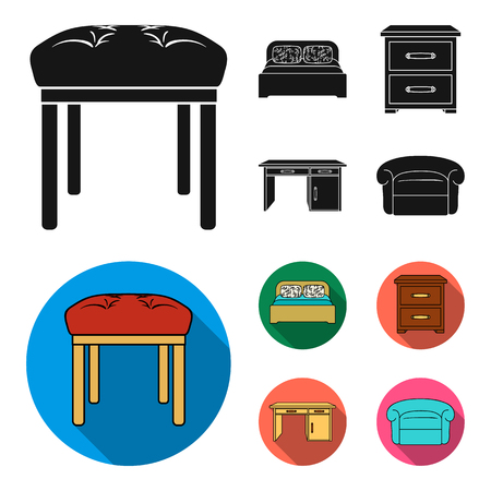 Interior, design, bed, bedroom .Furniture and home interiorset collection icons in black, flat style bitmap symbol stock illustration web.