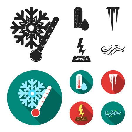 Humidity, icicles, thunderbolt, windy weather. Weather set collection icons in black, flat style bitmap symbol stock illustration web. 스톡 콘텐츠