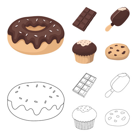 Donut with chocolate, zskimo, shokolpada tile, biscuit.Chocolate desserts set collection icons in cartoon,outline style bitmap symbol stock illustration web. Stock Photo