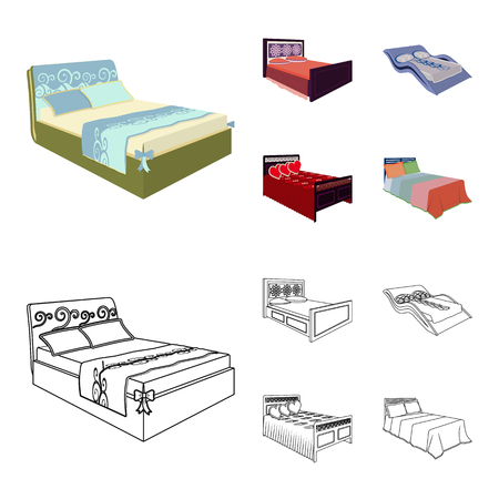 Different beds cartoon,outline icons in set collection for design. Furniture for sleeping bitmap isometric symbol stock web illustration. Stock Photo