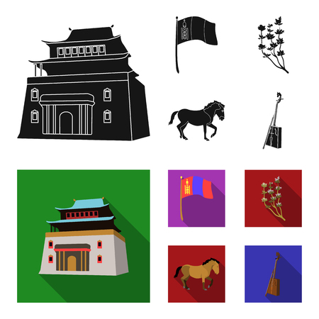 National flag, horse, musical instrument, steppe plant. Mongolia set collection icons in black, flat style bitmap symbol stock illustration web.