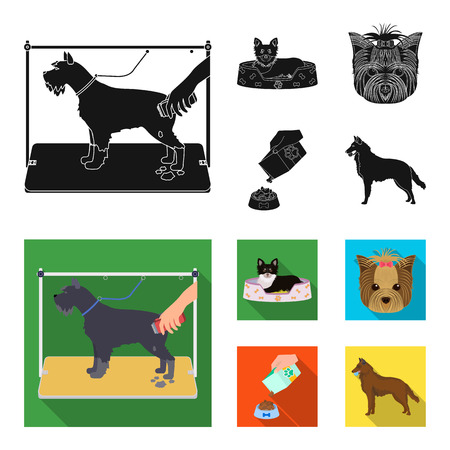 A dog in a lounger , a muzzle of a pet, a bowl with a feed, a sheepdog with a ball in his teeth. Pet ,dog care set collection icons in black, flat style bitmap symbol stock illustration web.