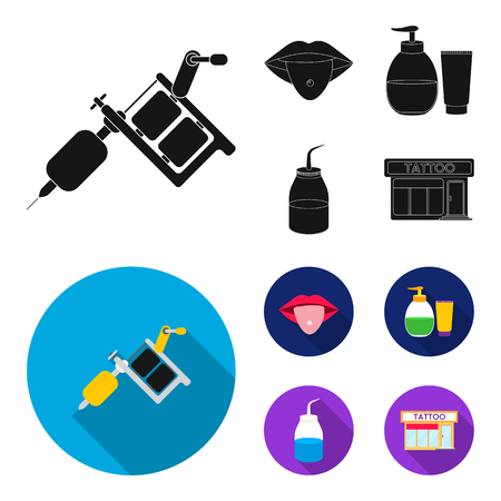 Piercing in tongue, gel, sallon. Tattoo set collection icons in black, flat style bitmap symbol stock illustration web.