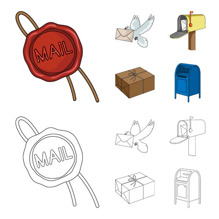 Wax seal, postal pigeon with envelope, mail box and parcel.Mail and postman set collection icons in cartoon,outline style bitmap symbol stock illustration web. Archivio Fotografico - 107105066