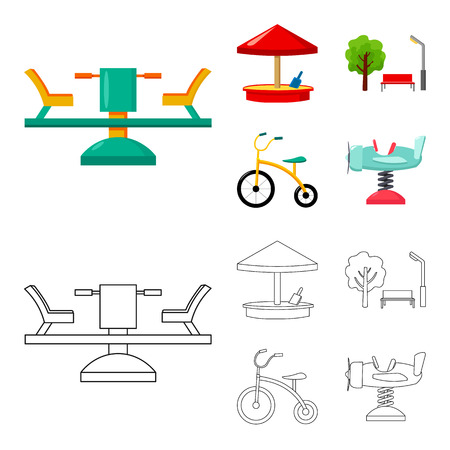Carousel, sandbox, park, tricycle. Playground set collection icons in cartoon,outline style bitmap symbol stock illustration web. Standard-Bild