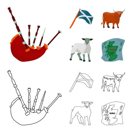 The state flag of Andreev, Scotland, the bull, the sheep, the map of Scotland. Scotland set collection icons in cartoon,outline style bitmap symbol stock illustration web.