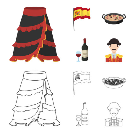 Flag with the coat of arms of Spain, a national dish with rice and tomatoes, a bottle of wine with a glass, a bullfighter, a matador. Spain country set collection icons in cartoon,outline style bitmap symbol stock illustration web.