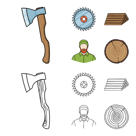 Circular saw, a working carpenter, a stack of logs. A sawmill and timber set collection icons in cartoon,outline style bitmap symbol stock illustration web.