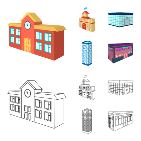 Bank office, skyscraper, city hall building, college building. Architectural and structure set collection icons in cartoon,outline style bitmap symbol stock illustration web.