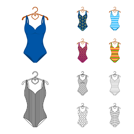 Different kinds of swimsuits. Swimsuitsset collection icons in cartoon,outline style bitmap symbol stock illustration . 스톡 콘텐츠