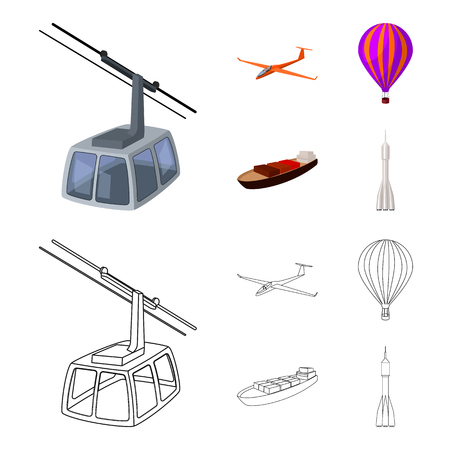 A drone, a glider, a balloon, a transportation barge, a space rocket transport modes. Transport set collection icons in cartoon,outline style bitmap symbol stock illustration .