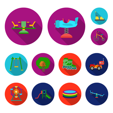 Playground, entertainment flat icons in set collection for design. Attraction and equipment bitmap symbol stock web illustration.
