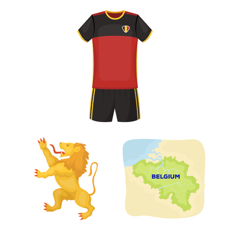 Country Belgium cartoon icons in set collection for design.Travel and attractions Belgium vector symbol stock web illustration.  イラスト・ベクター素材