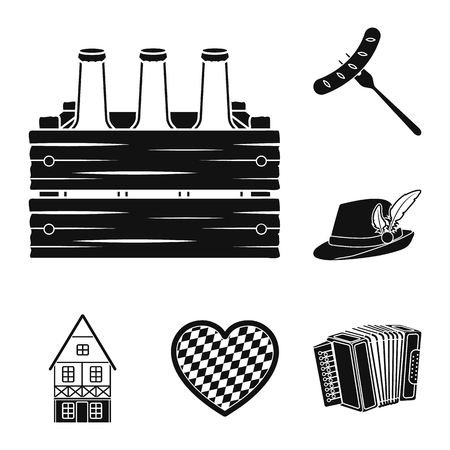October festival in Munich black icons in set collection for design.Tradition and fun vector symbol stock web illustration. Çizim