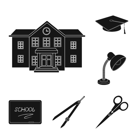 School and education black icons in set collection for design.College, equipment and accessories vector symbol stock web illustration.