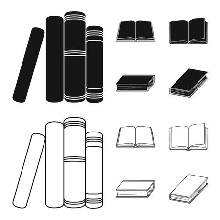 Différents types de livres. Livres mis icônes de la collection en noir, contour style vecteur symbole stock illustration