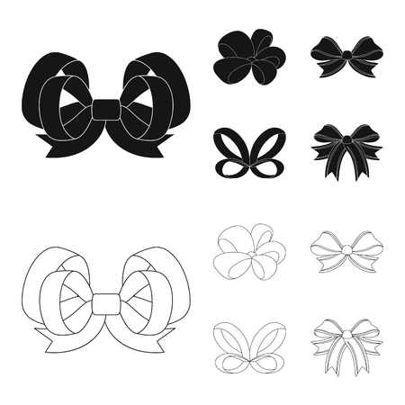 Ornamentals, frippery, finery and other web icon in black,outline style.Bow, ribbon, decoration, icons in set collection. Vettoriali