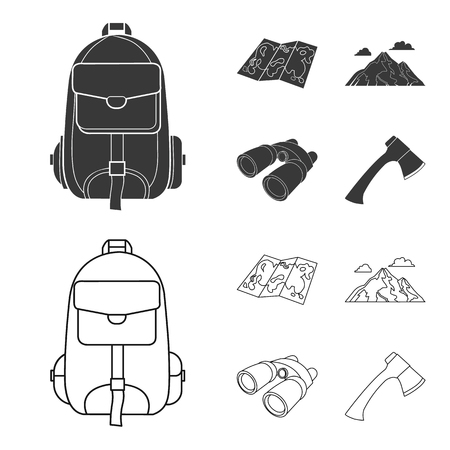 Backpack, mountains, map of the area, binoculars. Camping set collection icons in black,outline style vector symbol stock illustration web.