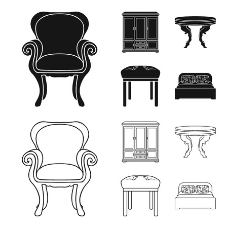 Furniture, interior, design, chair .Furniture and home interiorset collection icons in black,outline style vector symbol stock illustration web.