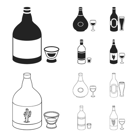 Tequila, cognac, beer, vodka.Alcohol set collection icons in black,outline style vector symbol stock illustration web. Ilustrace