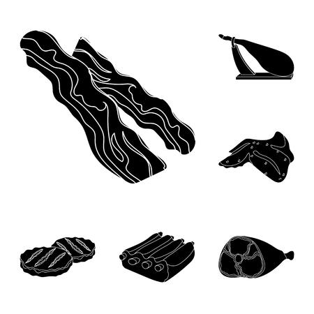 Différentes icônes de viande noire dans la collection de jeu pour la conception. Illustration de stock de symbole de vecteur de produit de viande.