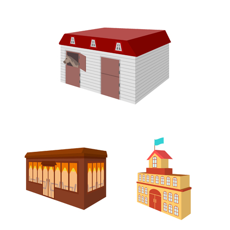 Building and architecture cartoon icons in set collection for design.The building and dwelling vector isometric symbol stock web illustration.