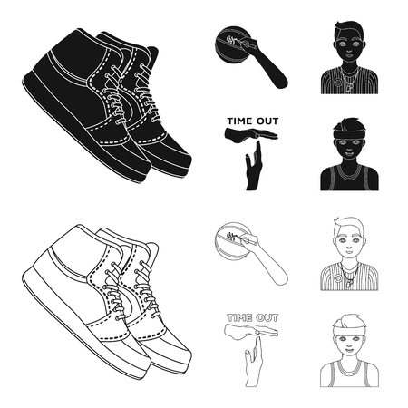 Basketball and attributes black,outline icons in set collection for design.Basketball player and equipment vector symbol stock web illustration.