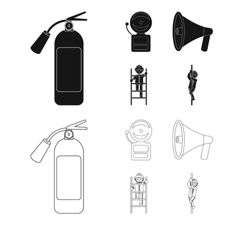 Fire extinguisher, alarm, megaphone, fireman on the stairs. Fire departmentset set collection icons in black,outline style vector symbol stock illustration web.