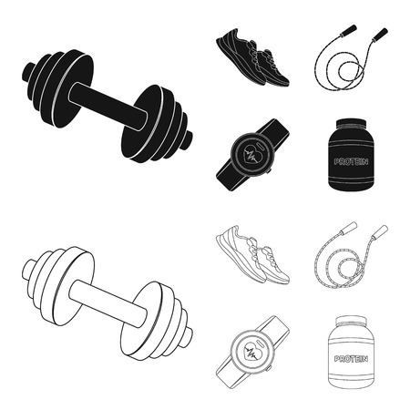 Dumbbell, rope and other equipment for training.Gym and workout set collection icons in black,outline style vector symbol stock illustration web.