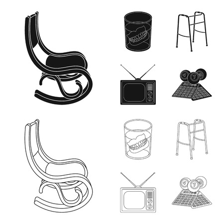 Denture, rocking chair, walker, old TV.Old age set collection icons in black,outline style vector symbol stock illustration web. Illustration