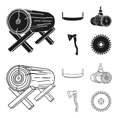 Log on supports, two-hand saw, ax, raising logs. Sawmill and timber set collection icons in black,outline style vector symbol stock illustration web. Ilustrace