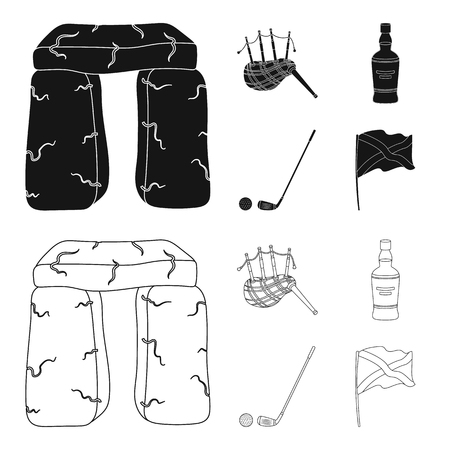 Stone monument, bagpipe, whiskey, golf. Scotland country set collection icons in black,outline style vector symbol stock illustration web. Illustration