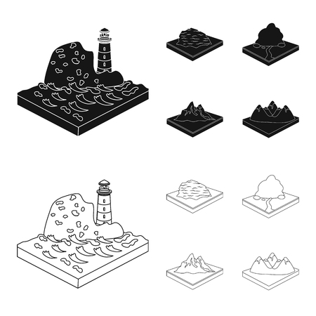 Mountains, rocks and landscape. Relief and mountains set collection icons in black,outline style isometric vector symbol stock illustration .